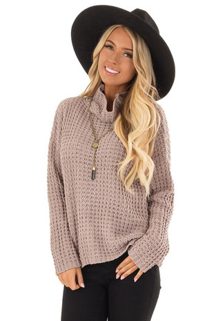 Taupe Long Sleeve Knit Sweater with Funnel Neck front close up