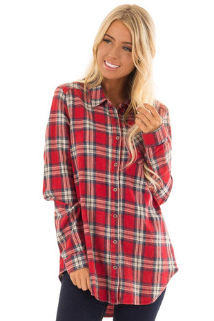Firetruck Red Plaid Button up Top with Chest Pocket front close up