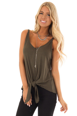 Olive and Black Stripe V Neck Tank Top with Front Knot front close up