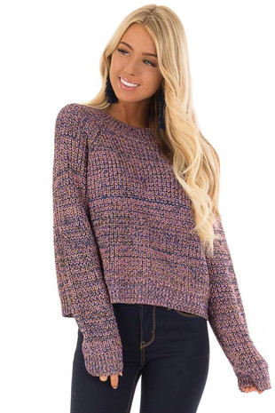 Blush and Gold Long Sleeve Glitter Knit Sweater front close up