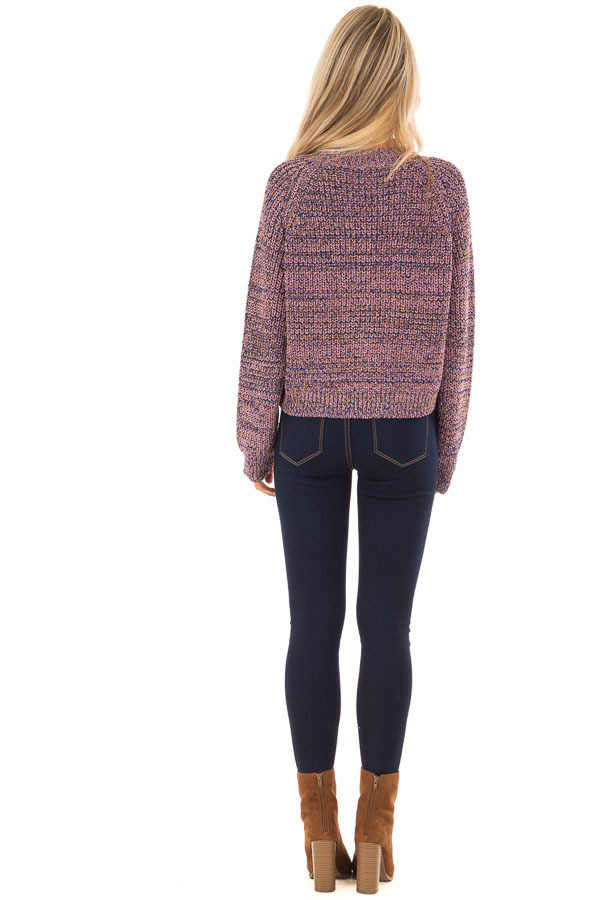 Blush and Gold Long Sleeve Glitter Knit Sweater back full body