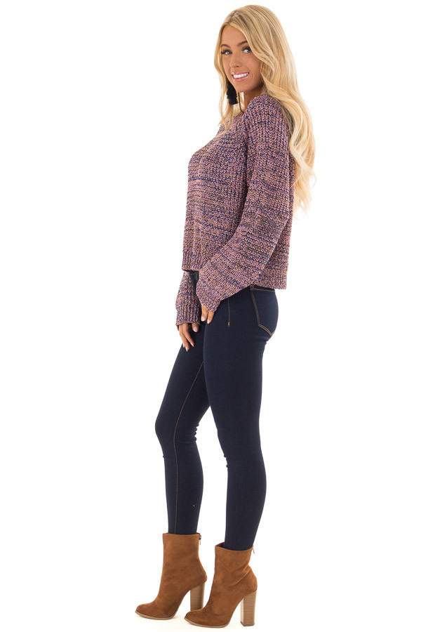 Blush and Gold Long Sleeve Glitter Knit Sweater side full body