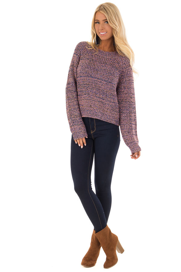 Blush and Gold Long Sleeve Glitter Knit Sweater front full body