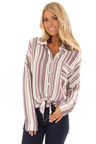 Ivory and Burgundy Striped Long Sleeve Button Up Top front full body