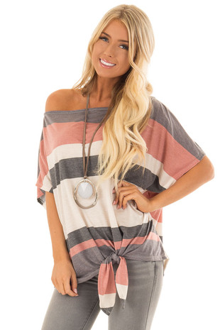 Charcoal Grey Striped Off the Shoulder Top with Tie Detail front close up