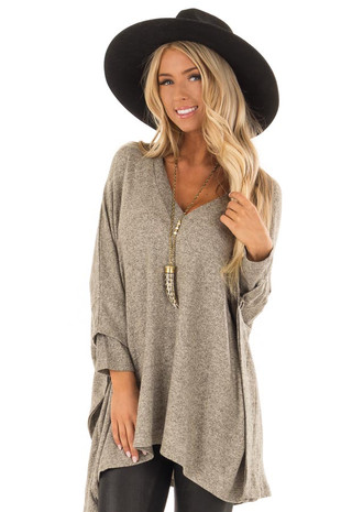 Taupe Layered Poncho Style Sweater with V Neckline front closeup