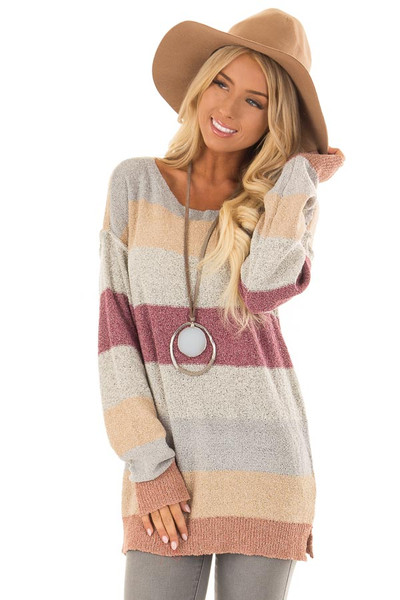 Multi Color Striped Knit Sweater with Long Sleeves front closeup