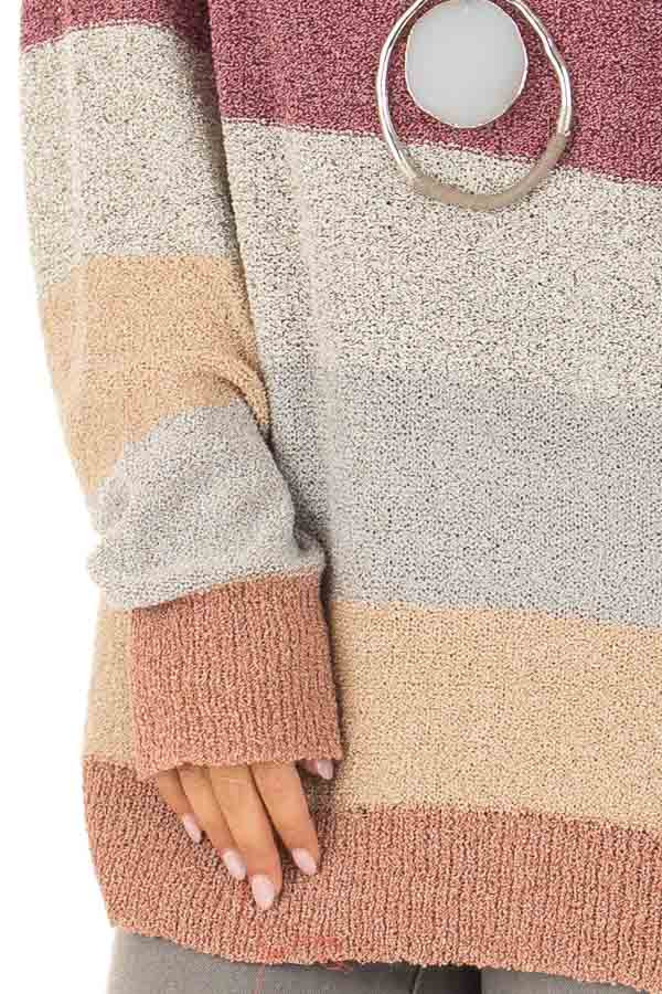 Multi Color Striped Knit Sweater with Long Sleeves detail
