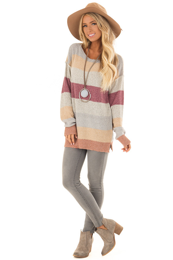 Multi Color Striped Knit Sweater with Long Sleeves front full body