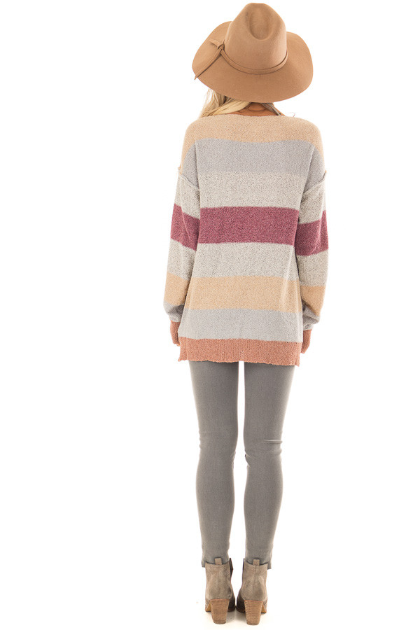 Multi Color Striped Knit Sweater with Long Sleeves back full body