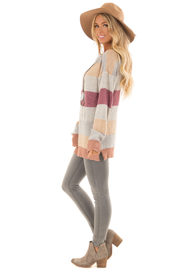 Multi Color Striped Knit Sweater with Long Sleeves side full body