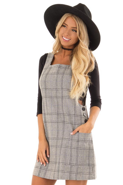 Charcoal and White Plaid Overall Dress with Side Pockets front close up