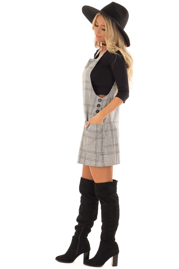 Charcoal and White Plaid Overall Dress with Side Pockets side full body