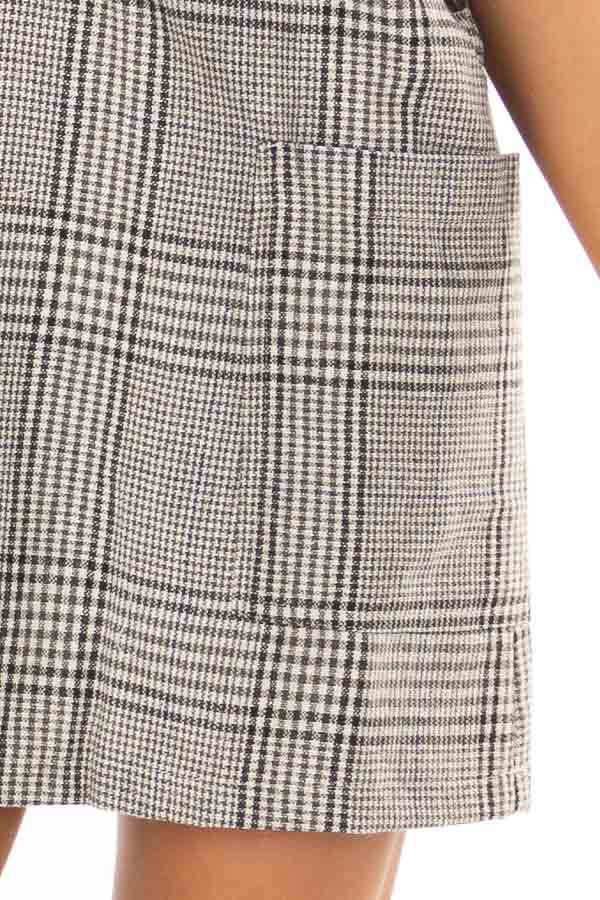 Charcoal and White Plaid Overall Dress with Side Pockets detail