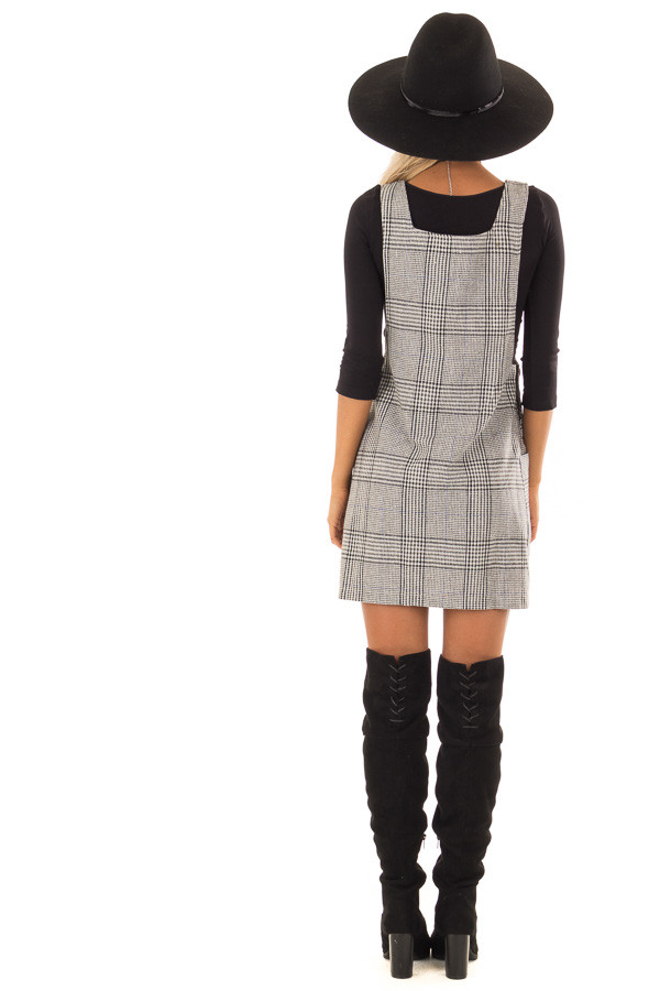 Charcoal and White Plaid Overall Dress with Side Pockets back full body