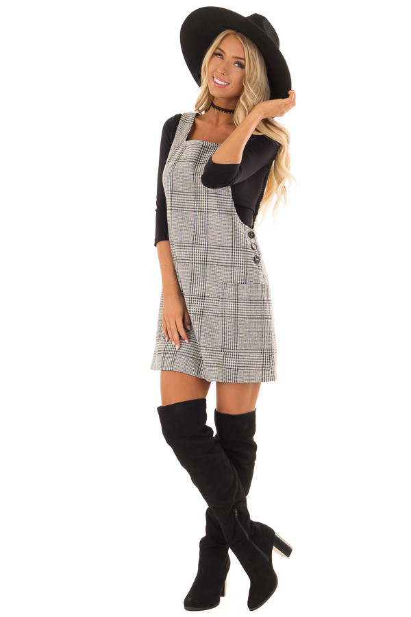 Charcoal and White Plaid Overall Dress with Side Pockets front full body