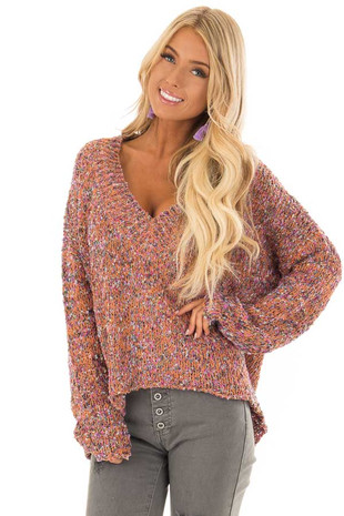 Multicolor Long Sleeve V Neck Sweater front close up