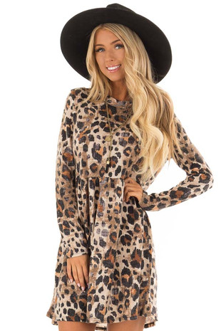 Mocha Leopard Long Sleeve Mock Neck Babydoll Dress front close up
