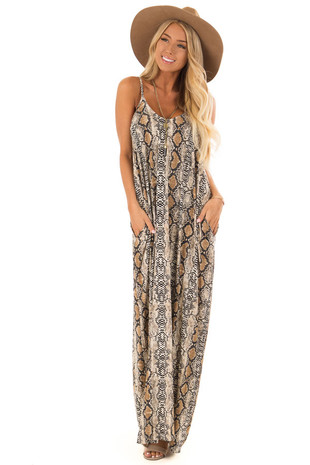 Beige Snake Print Maxi Dress with Side Pockets front full body