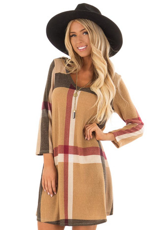 Warm Tan Plaid Dress with 3/4 Sleeves front closeup