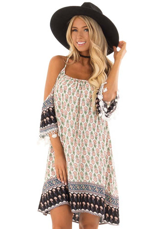 Peach Floral Print Cold Shoulder Dress with Tassel Detail front close up