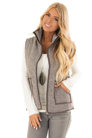 Charcoal Grey Chevron Print Sleeveless Vest with Pockets front close up