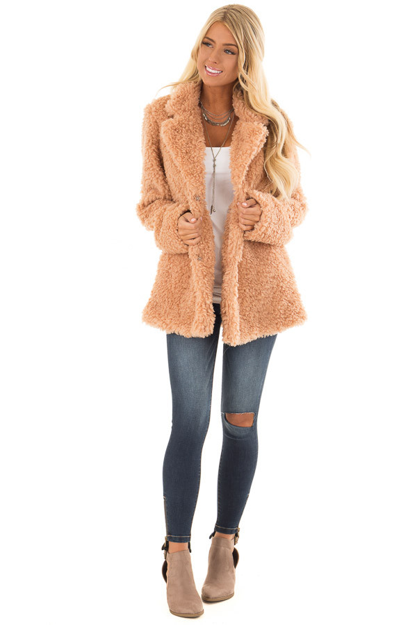Blush Button Up Long Sleeve Faux Fur Jacket with Pockets front full body
