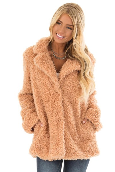 Blush Button Up Long Sleeve Faux Fur Jacket with Pockets front close up