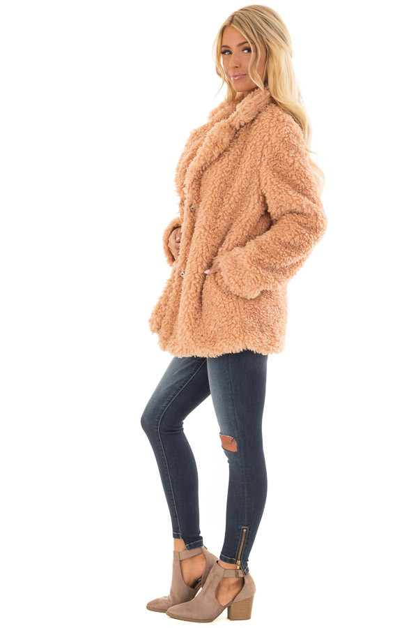 Blush Button Up Long Sleeve Faux Fur Jacket with Pockets side full body