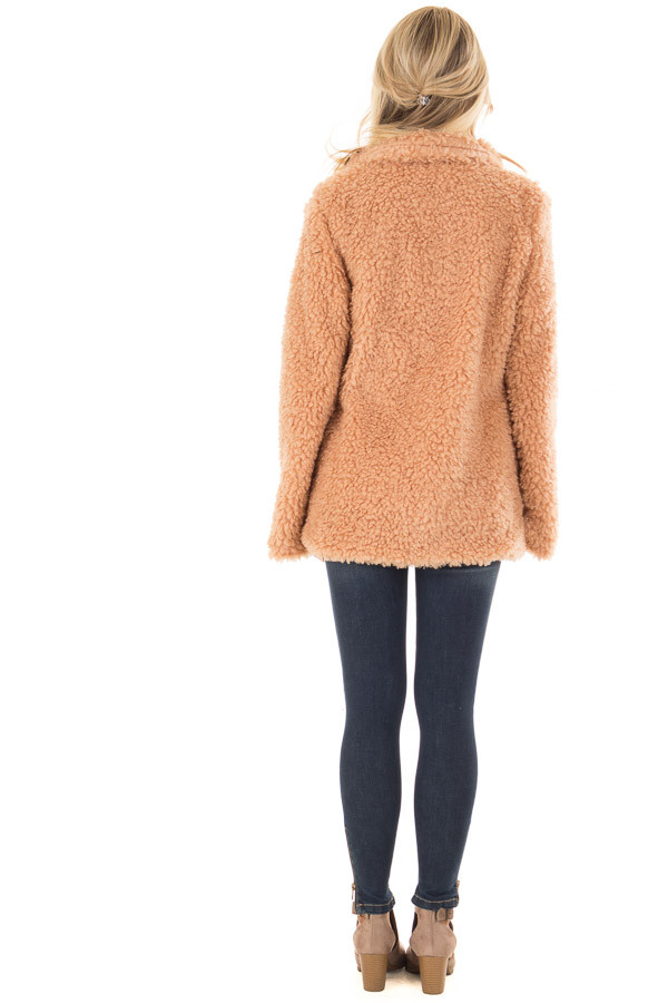 Blush Button Up Long Sleeve Faux Fur Jacket with Pockets back full body