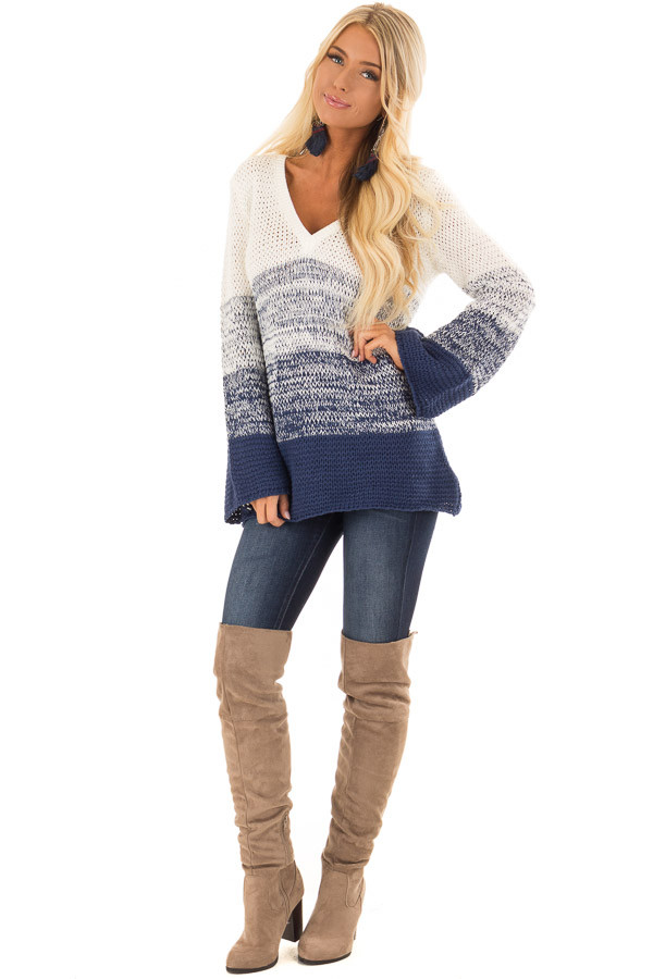 Cream and Royal Blue Ombre Knit Sweater front full body