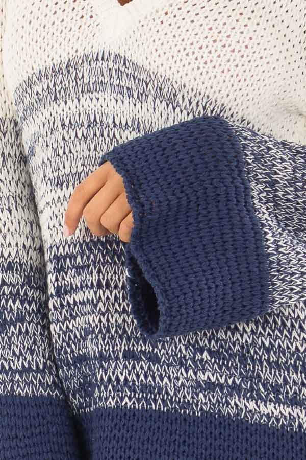 Cream and Royal Blue Ombre Knit Sweater detail