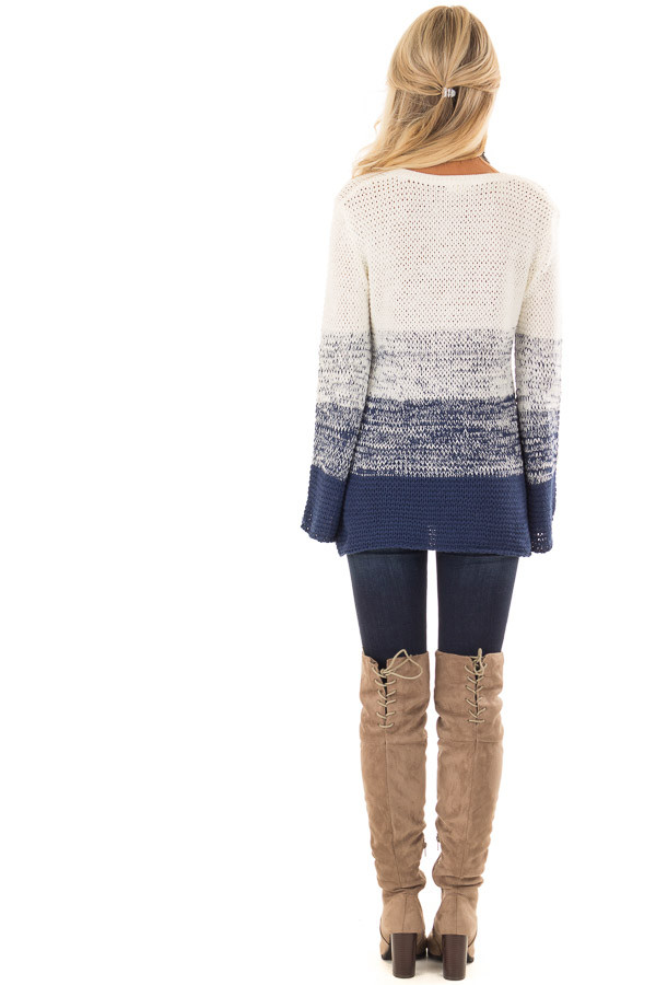 Cream and Royal Blue Ombre Knit Sweater back full body