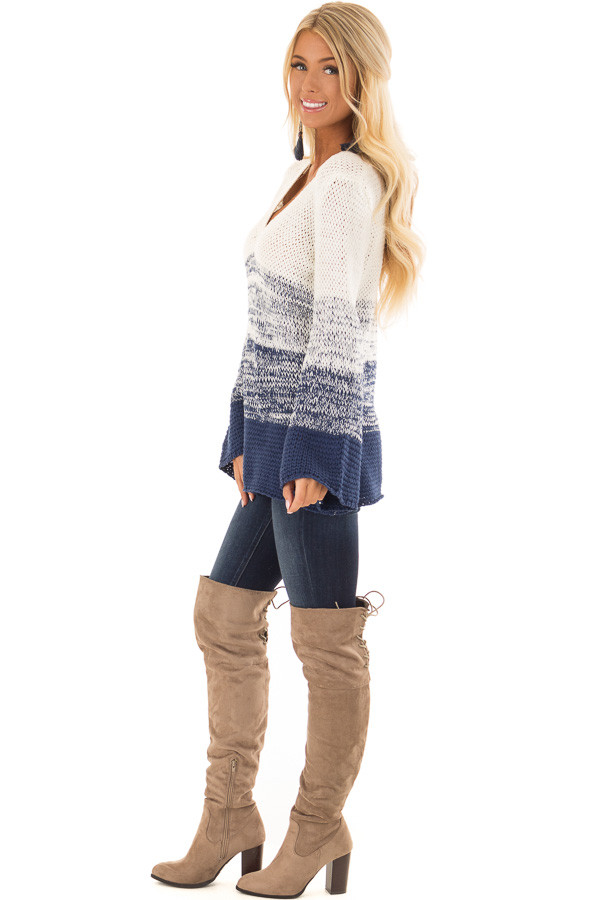 Cream and Royal Blue Ombre Knit Sweater side full body