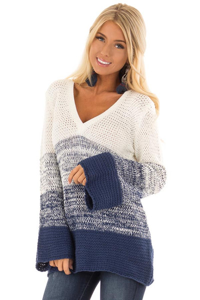 Cream and Royal Blue Ombre Knit Sweater front close up