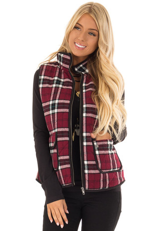 Burgundy and Black Plaid Sleeveless Vest with Front Pockets front close up