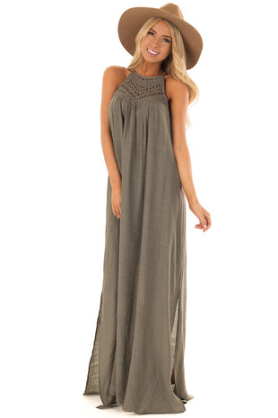 Olive Halter Maxi Dress with Crochet Lace Details front full body