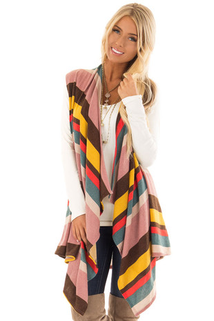Multi Striped Sleeveless Open Front Vest Cardigan front close up