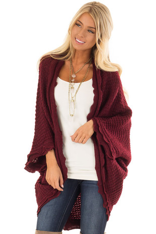 Wine Red Two Tone Sweater Cardigan with Dolman Sleeves front close up