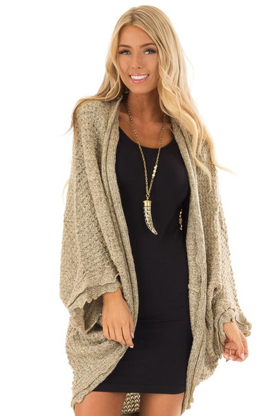 Beige Two Tone Sweater Cardigan with Dolman Sleeves front close up