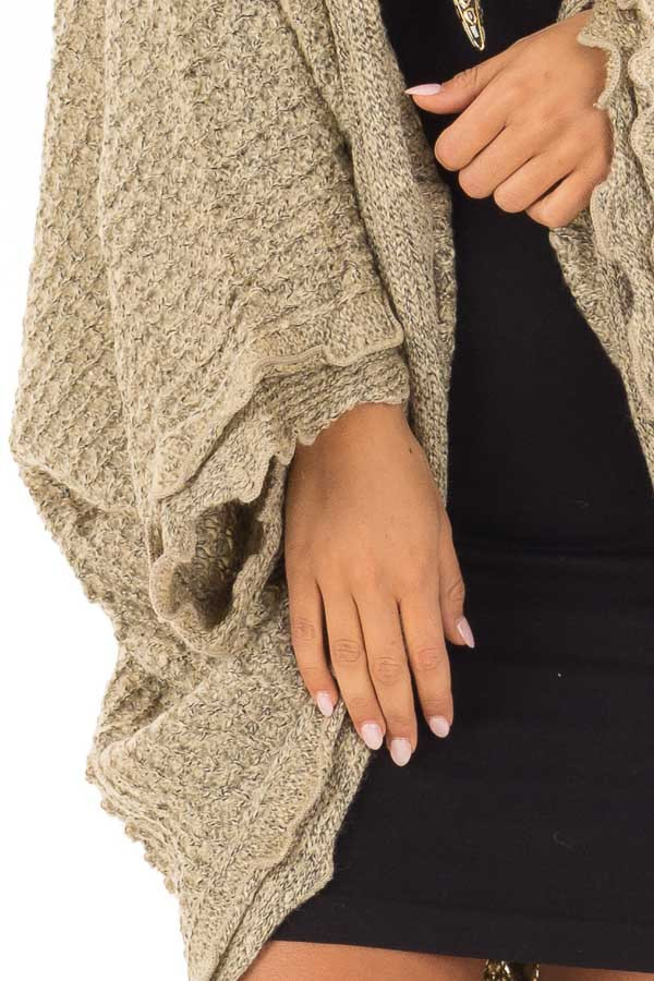 Beige Two Tone Sweater Cardigan with Dolman Sleeves detail