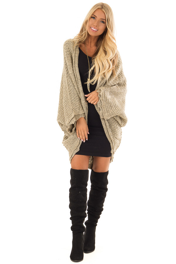 Beige Two Tone Sweater Cardigan with Dolman Sleeves front full body