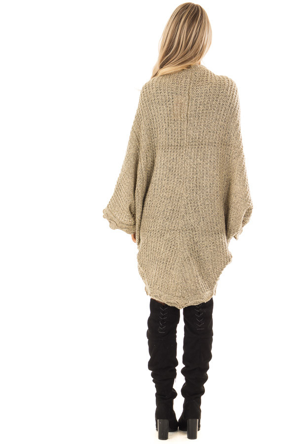 Beige Two Tone Sweater Cardigan with Dolman Sleeves back full body