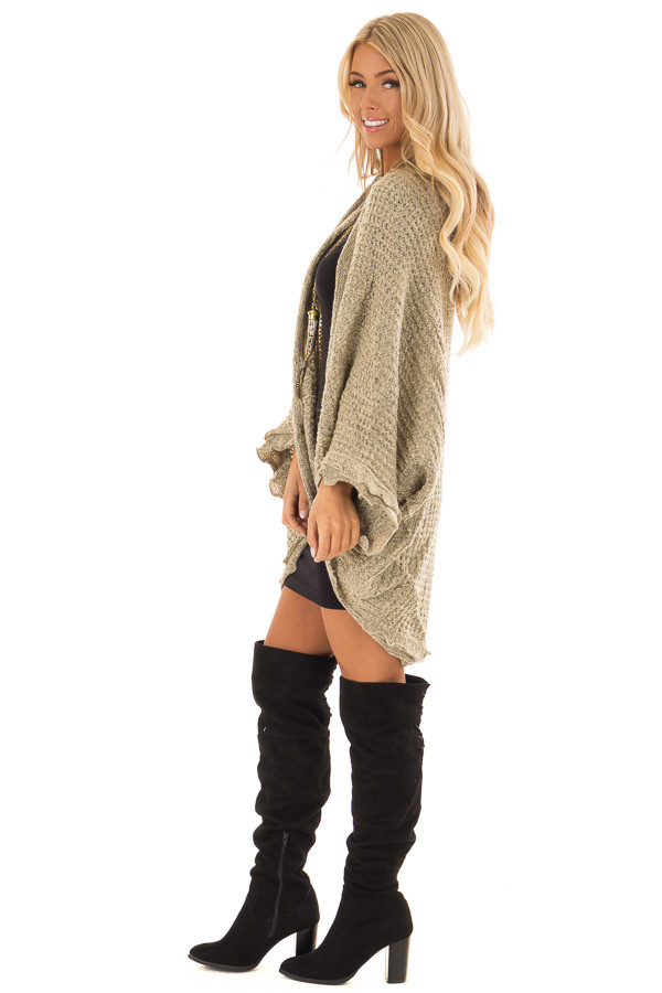Beige Two Tone Sweater Cardigan with Dolman Sleeves side full body