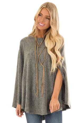 Olive Soft Knit Poncho with Arm Holes front close up