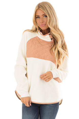 Cream and Rusty Pink Fleece Pullover Sweater with Pockets front close up