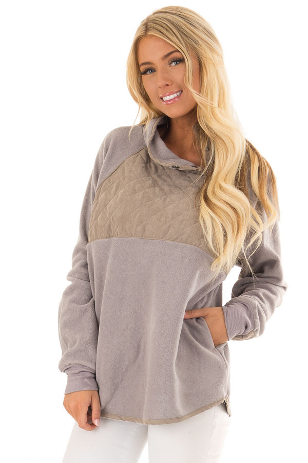 Grey and Taupe Fleece Pullover Sweater with Pockets front close up