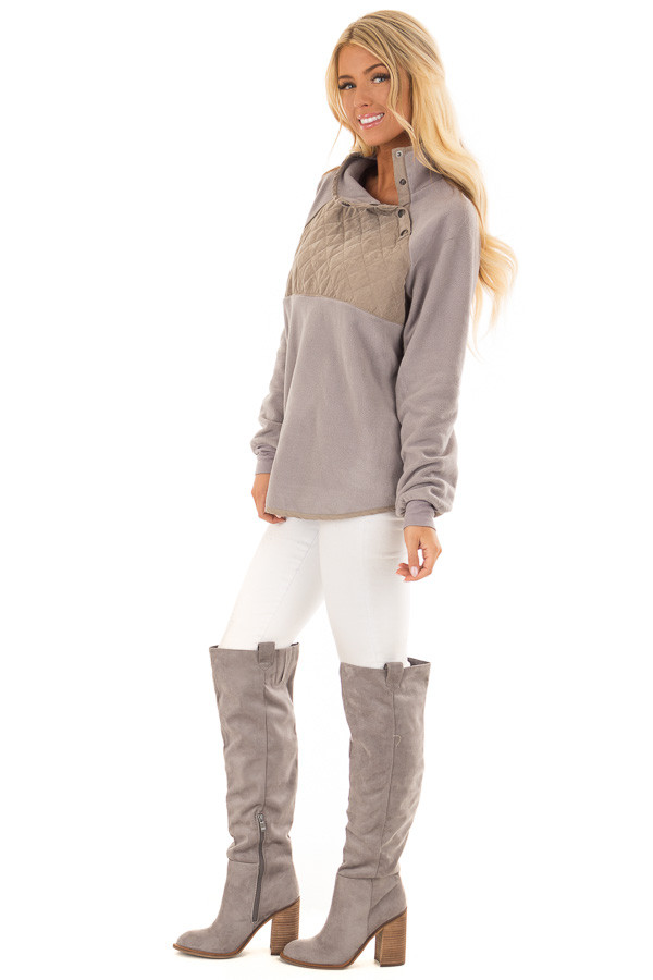Grey and Taupe Fleece Pullover Sweater with Pockets side full body