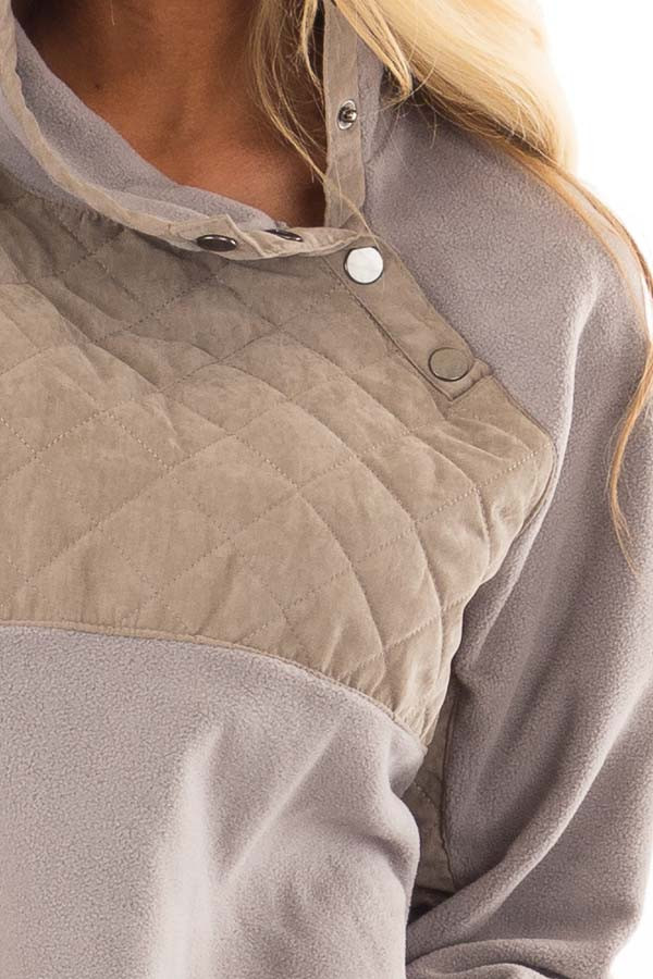 Grey and Taupe Fleece Pullover Sweater with Pockets detail