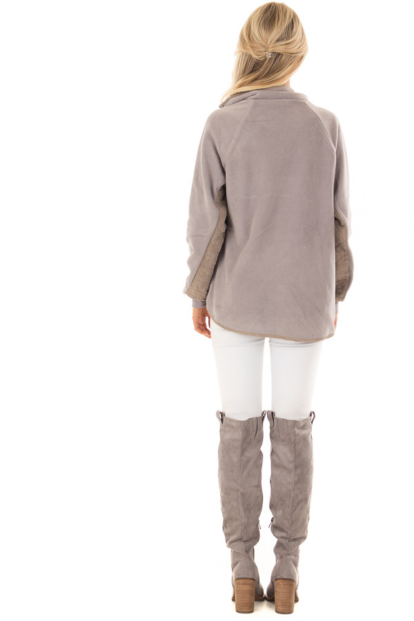Grey and Taupe Fleece Pullover Sweater with Pockets back full body